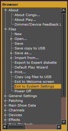 Exit to System Settings