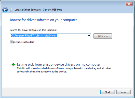 Update Driver Browse