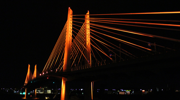 Tilikum Crossing bathed in orange