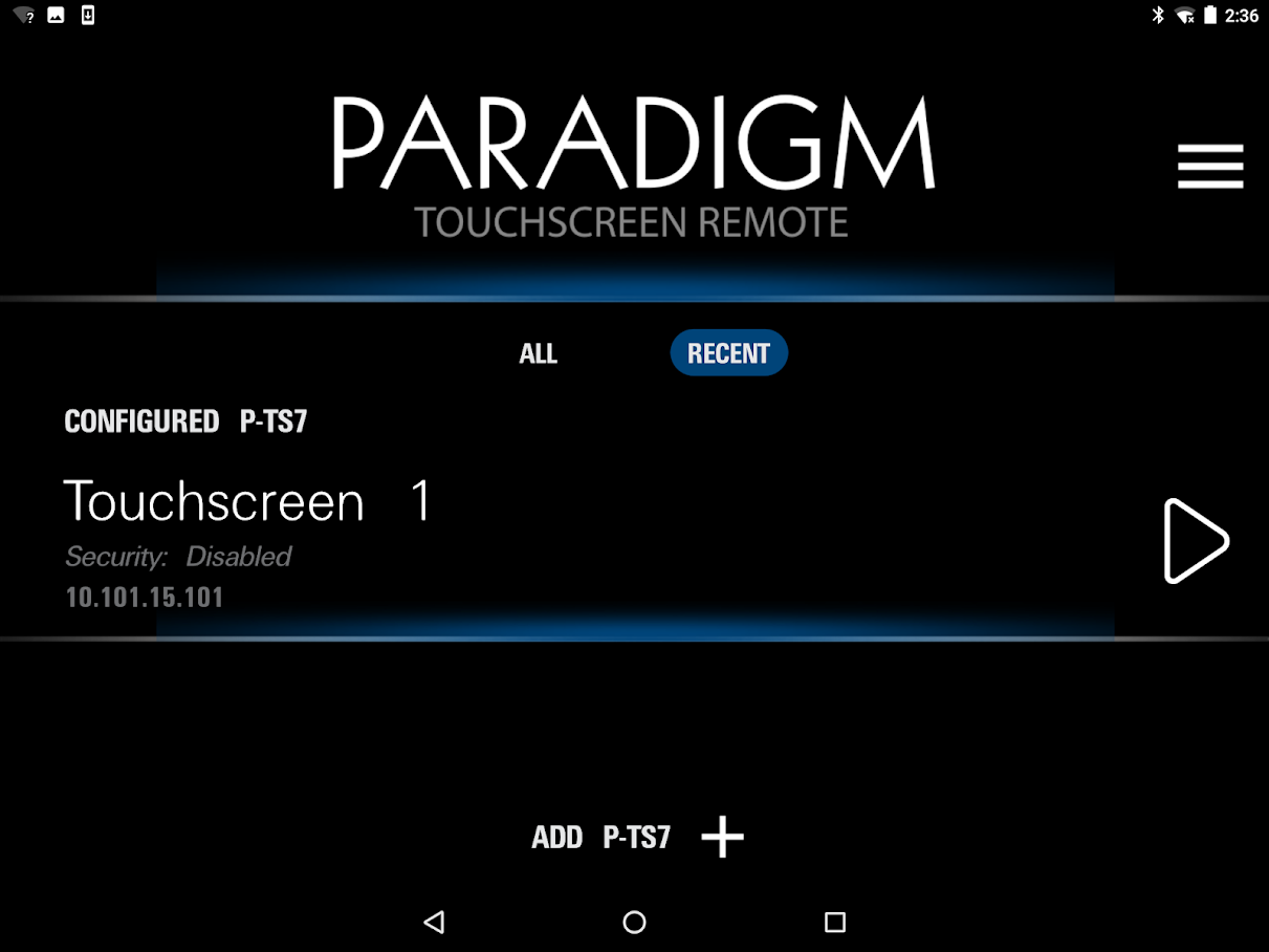 Paradigm Touchscreen app